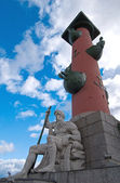 Rostral column with Neptune god — Stock Photo