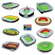 South african soccer stadiums — Imagen vectorial