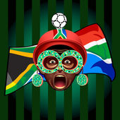 South african soccer fan — Stock Vector