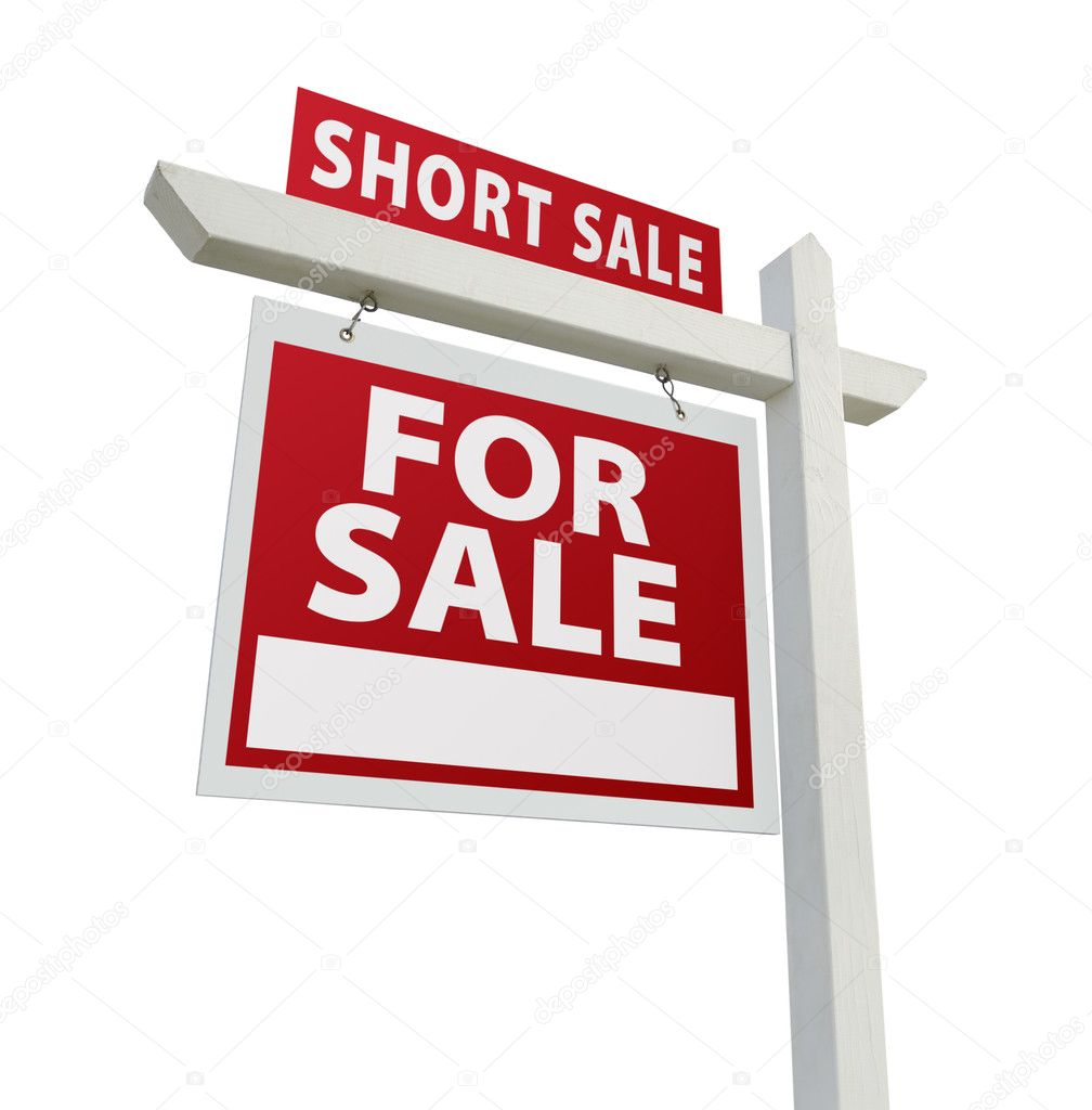 Short Sale Real Estate Sign Isolated Stock Photo