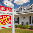 Постер, плакат: Sold Foreclosure Real Estate Sign Home