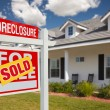 Sold Foreclosure Real Estate Sign, Home — Stock Photo #2806812
