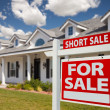 Short Sale Home For Sale Real Estate Sign and House — Stock Photo