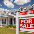 Foreclosure Real Estate Sign and House — Stock Photo #2806835