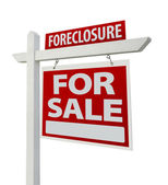 Foreclosure Home For Sale Real Estate Sign — Stock Photo