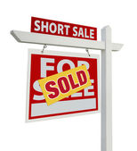 Sold Short Sale Sign Isolated on White — Stock Photo