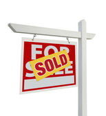 Sold For Sale Real Estate Sign Isolated — Stock Photo