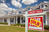 Sold Short Sale Real Estate Sign, House — Stock Photo