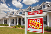 Sold Foreclosure Home For Sale Real Estate Sign — Stock Photo