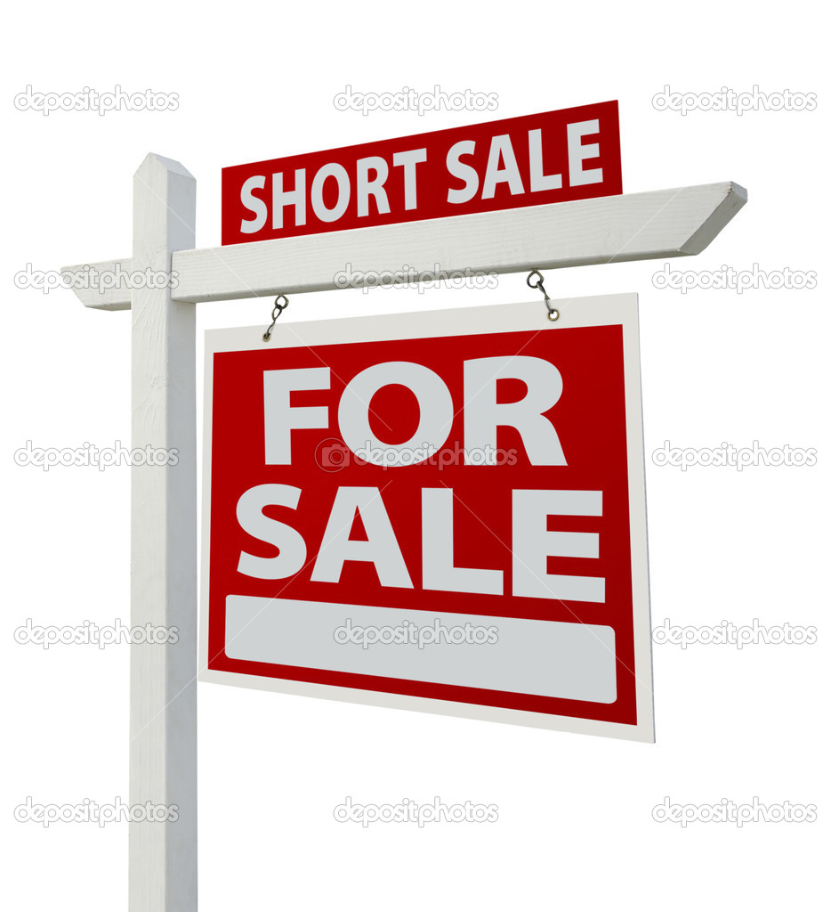 Short Sale Home For Sale Real Estate Sign Stock Photo