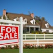 For Sale Sign in Front of House - Stock Photo