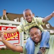 African American Father and Son, House — Stock Photo