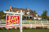 Sold Home For Sale Real Estate Sign in Front — Stock Photo