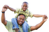 African American Man and Child on White — Stock Photo