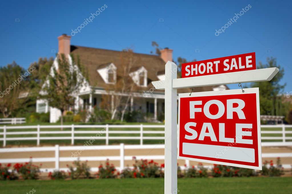 Short Sale Home For Sale Real Estate Sign In Fro Stock