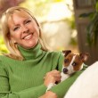 Woman and Jack Russell Terrier Puppy — Stock Photo
