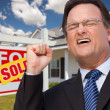 Man in Front of Real Estate and Home — Foto de Stock