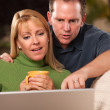 Handsome Happy Couple Using Their Laptop — Stock Photo #2914220