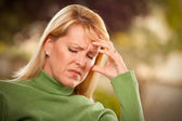 Grimacing Woman Suffering a Painful Head — Stock Photo