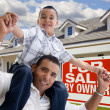 Father and Son, For Sale by Owner Sign — Stock Photo