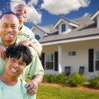 Attractive African American Family's New Home - Stock Photo