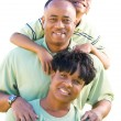 African American Family Isolated - Stock Photo
