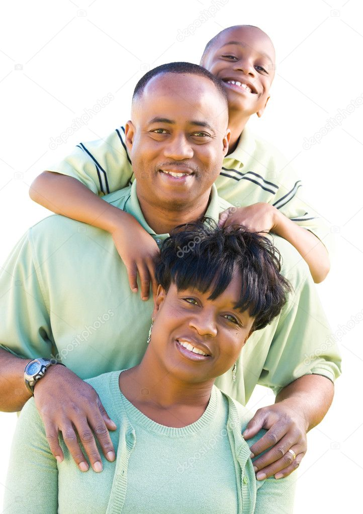 Attractive, Happy African American Family Isolated on a White Background. — ストック写真 #2957341