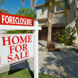 Foreclosure Real Estate Sign and Houses — Stock Photo #2979536