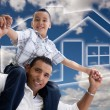 Stock Photo: Hispanic Father and Son, Clouds, House