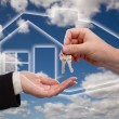 Handing Over Keys on Ghosted House, Sky — Stock Photo