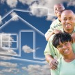 Happy African American Family Over Clouds — 图库照片