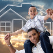Hispanic Father and Son Over Sky, House — Stock Photo