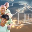 African American Family Over Sky, House — 图库照片