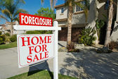 Foreclosure Real Estate Sign and Houses — Stock Photo