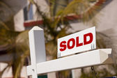 Close-up of Sold Real Estate Sign — Stock Photo