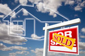 Sold Real Estate Sign Over Clouds, House — Stock Photo