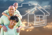 African American Family Over Sky, House — Stock Photo
