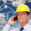 Contractor in Hardhat on His Cell Phone — Stock Photo