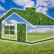 Green Grass House Icon Over Field, Blue Sky - Stock Photo