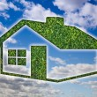 图库照片: Green Grass House Icon Over Blue Sky