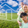 African American Family on Grass, Home - Stock Photo