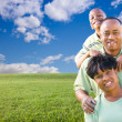 Happy African American Family Over Grass - Stock Photo
