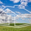 Stock Photo: Dreamy House Icon Over Empty Grass Field