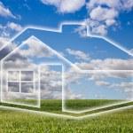 Dreamy House Icon Over Empty Grass Field — Stock Photo
