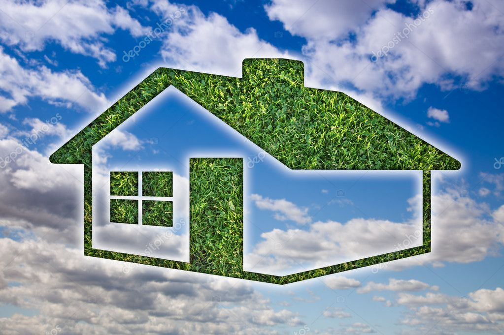Green Grass House Icon Over Blue Sky and Clouds. — Stock Photo #3012553