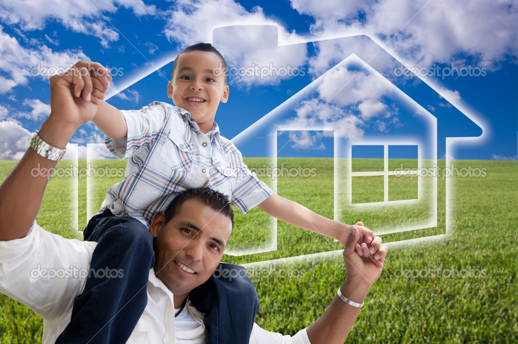 Happy Hispanic Father and Son Over Grass Field, Clouds, Sky and House Icon.  Stock Photo #3012571