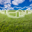 Dreamy Houses Icon Over Empty Field — Stock Photo