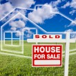 Постер, плакат: Sold For Sale Sign Over Clouds House