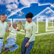 African American Family on Grass, House — Stock Photo