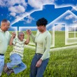 Royalty-Free Stock Photo: African American Family on Grass, House